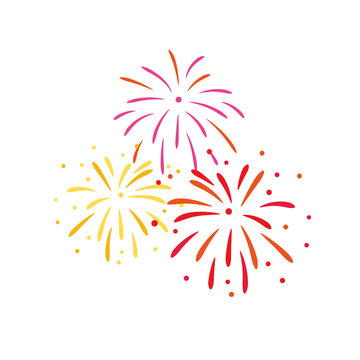 Vector red and yellow fireworks illustration