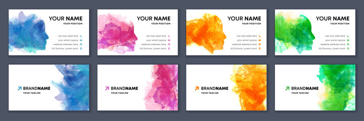 Obraz Big set of bright colorful business card template with vector watercolor head silhouette on white background - fototapety do salonu