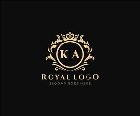Obraz Initial KA Letter Luxurious Brand Logo Template, for Restaurant, Royalty, Boutique, Cafe, Hotel, Heraldic, Jewelry, Fashion and other vector illustration. - fototapety do salonu