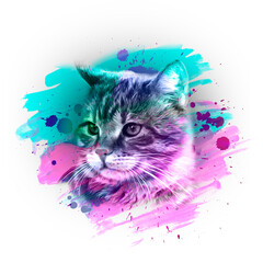 cat head with creative abstract elements on white background