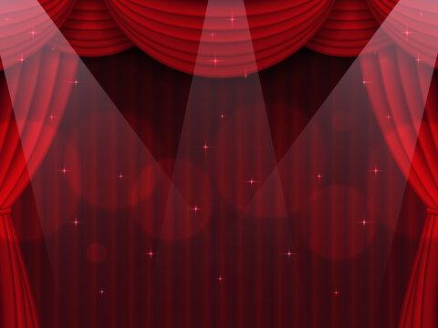 スポットライト照らされた赤色の幕の舞台