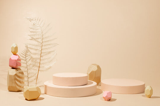 Composition of  geometric podiums, balancing wooden stones and dried leaves for products presentation or exhibitions.