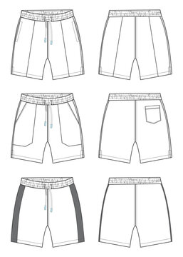 Boys Sweat Shorts vector fashion flat sketch template Different Three styles. Young Men shorts Technical Drawing Fashion art Illustration isolated on white background.