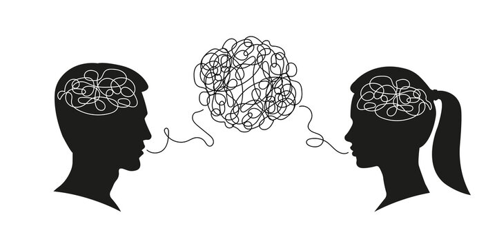 Man and woman dialogue with confused thoughts in their brain. Male and female head silhouettes with convoluted mind and speech. Couple communication, relationship concept. Vector illustration.