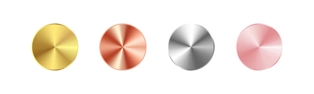 Realistic metal button set. Gold, Rose Gold, Silver, Bronze gradients collection Vector EPS