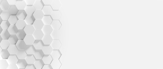 Obraz Panoramic Wall of Random shifted white honeycomb hexagon background wallpaper with copy space. - fototapety do salonu