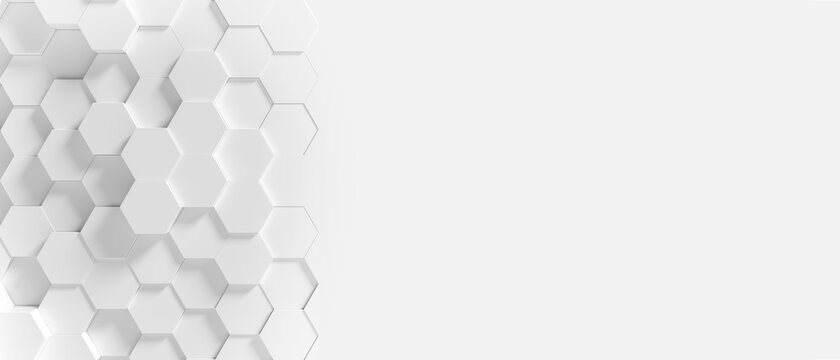 Panoramic Wall of Random shifted white honeycomb hexagon background wallpaper with copy space.