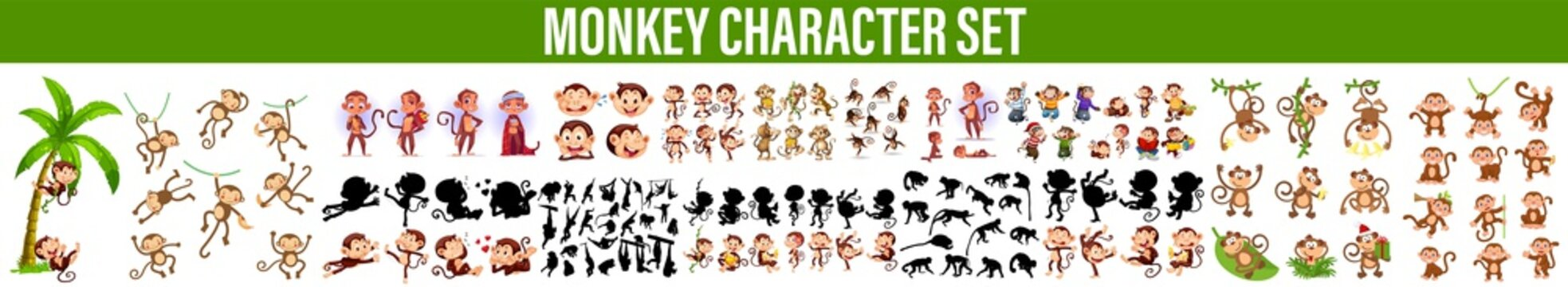 monkeys doing different actions illustration, Cute Monkey Character Set. Vector Illustrations Of A In Various Poses, Set Vector Stock Illustrations isolated emoji character cartoon monkey stickers