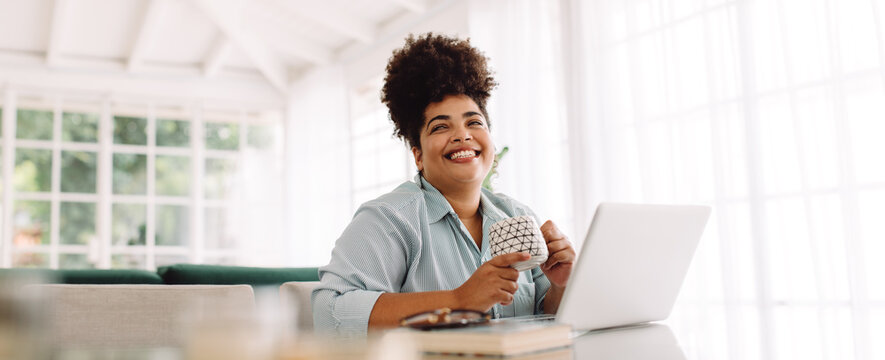 Woman taking break while working from home