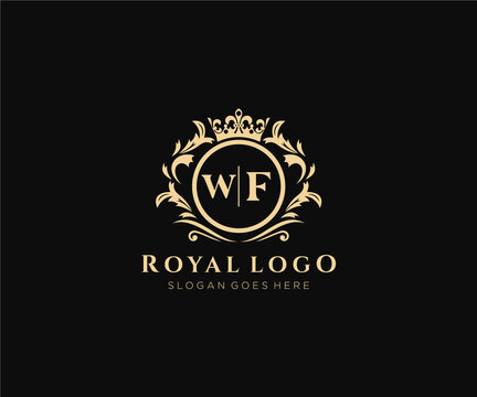 Initial WF Letter Luxurious Brand Logo Template, for Restaurant, Royalty, Boutique, Cafe, Hotel, Heraldic, Jewelry, Fashion and other vector illustration.