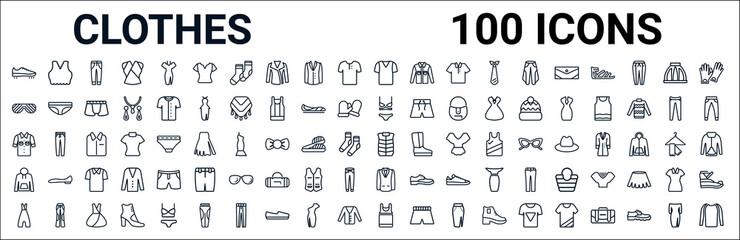 Fototapeta outline set of clothes line icons. linear vector icons such as brassiere,shutter sunglasses,lingerine set,denim shirt,padded vest,sweatshirt,blazer,tank top. vector illustration obraz