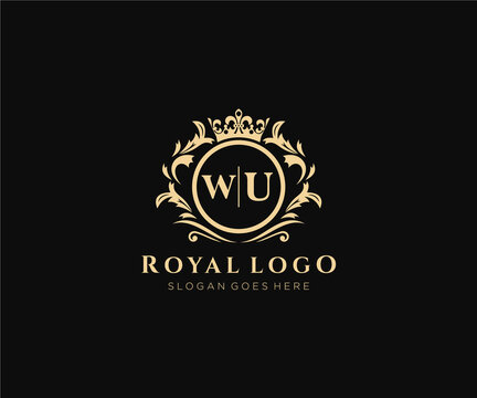 Initial WU Letter Luxurious Brand Logo Template, for Restaurant, Royalty, Boutique, Cafe, Hotel, Heraldic, Jewelry, Fashion and other vector illustration.