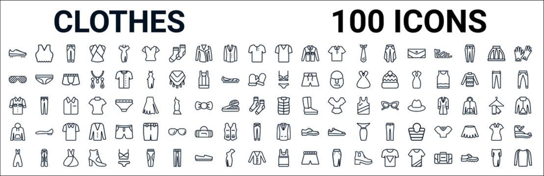 outline set of clothes line icons. linear vector icons such as brassiere,shutter sunglasses,lingerine set,denim shirt,padded vest,sweatshirt,blazer,tank top. vector illustration