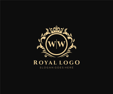 Initial WW Letter Luxurious Brand Logo Template, for Restaurant, Royalty, Boutique, Cafe, Hotel, Heraldic, Jewelry, Fashion and other vector illustration.