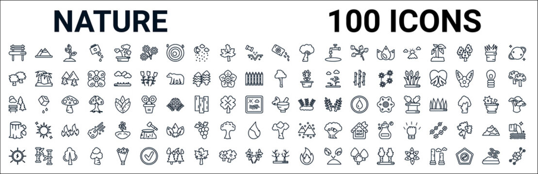 outline set of nature line icons. linear vector icons such as hill,black ash tree,paper birch tree,sunny park,therapy,trunk,american beech tree,leafless tree. vector illustration