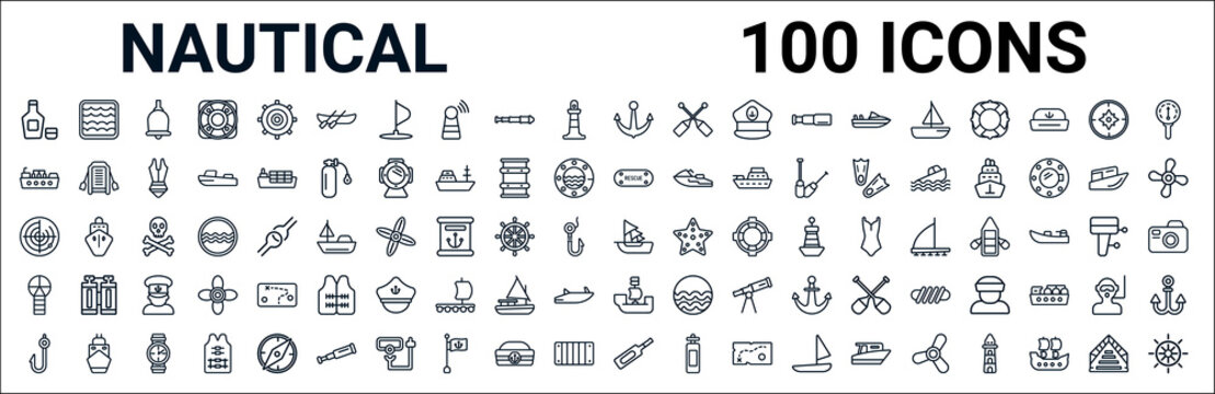 outline set of nautical line icons. linear vector icons such as salt water,oil tanker ship,rescue tube,radar detection,caravel,port and starboard,pirate ship,message in a bottle. vector illustration