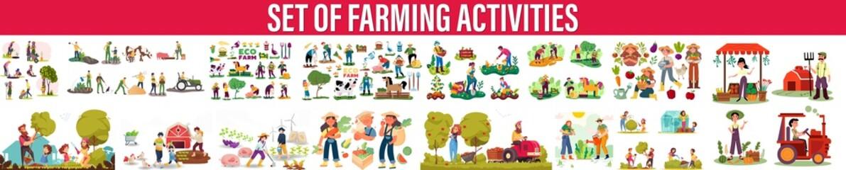 Agricultural work. farming activity vector. farming activity illustration, Flat farmers. Harvest time, Gardening people set, spring -modern flat vector concept illustration . People garden workers