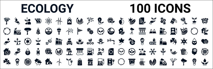 Obraz set of 100 glyph ecology web icons. filled icons such as raindrop on a hand,recycling,natural product,drop,water tap,ecological house,recycled paper,electric station. vector illustration - fototapety do salonu