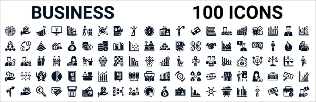 set of 100 glyph business web icons. filled icons such as euro coin on hands,dollar on top of financial hierarchy,ingot,man with money gears,increase rate,hand with money gear,measuring success,euro