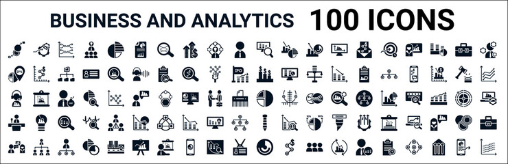 Obraz set of 100 glyph business and analytics web icons. filled icons such as setting flow interface,percentage,revenue,service,graph pie,conference,tie,circular chart. vector illustration - fototapety do salonu