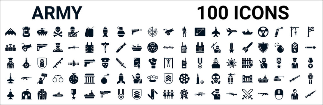 set of 100 glyph army web icons. filled icons such as army backpack,brigade,barbed,conscription,pull up,fighter plane,chevrons,terracotta. vector illustration