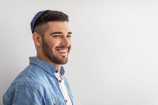 Closeup portrait of smiling jewish man in yarmulke