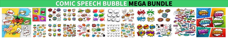 Comic Speech Bubble Mega Bundle. Comic speech bubbles or sound replicas. Set Of Comics Explosion Bubbles, Color Comic Book Page Template, Comic speech bubbles set. Comic Speech Bubbles Vector eps 10