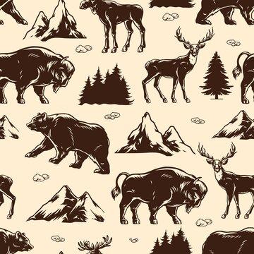National park vintage seamless pattern