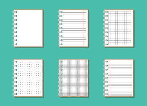 blank opened notebooks with left side spring set, flat vector illustrations set