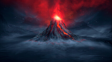 Night fantasy landscape with abstract mountains and island on the water, explosive volcano with burning lava, neon light. Dark Futuristic natural scene with reflection of light in the water. 3D