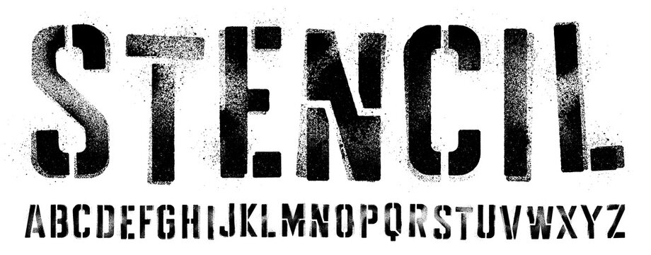 Stencil font with spray paint texture with mis-printed overspray. Highly detailed vector textures taken from high res scans. Compound path and optimised. Original design font