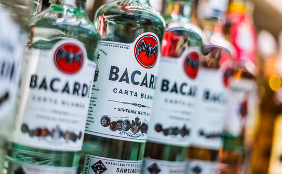 Bottles of Bacardi rum put up for sale in a supermarket