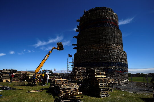 Craigyhill locals build the highest ever Twelfth of July bonfire in Northern Ireland
