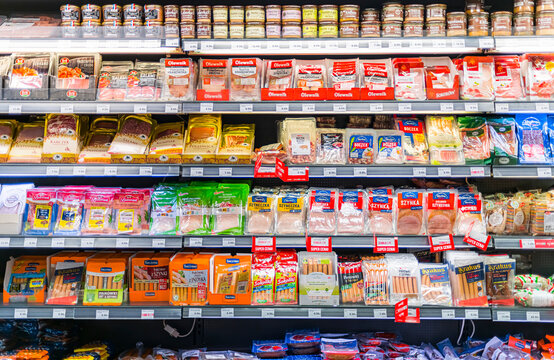 Food products put up for sale in a commercial refrigerator