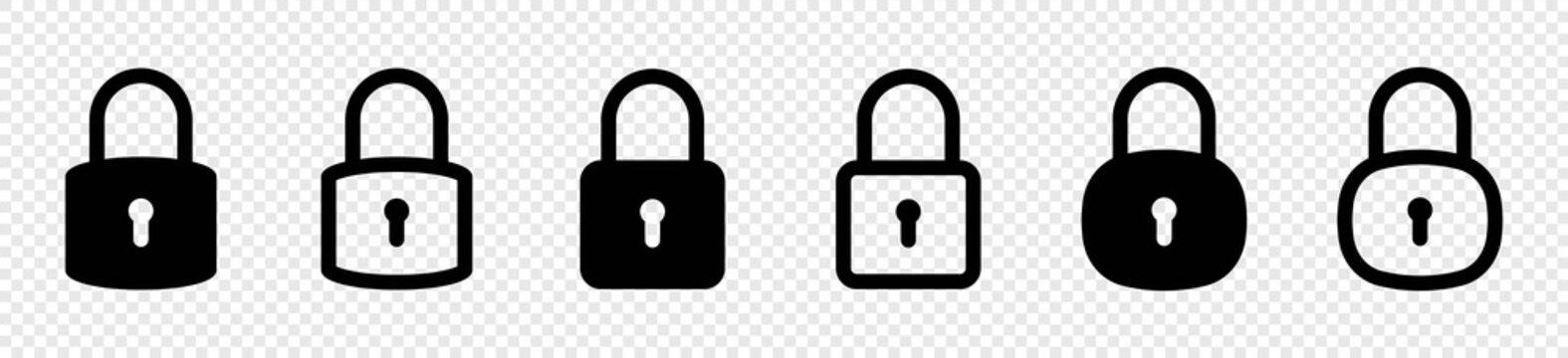 Lock icon set, lock symbol isolated on transparent background,  vector illustration
