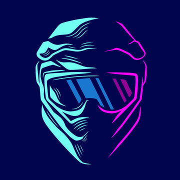 Motocross helmet trail fullface adventure line pop art potrait logo colorful design with dark background. Abstract vector illustration.