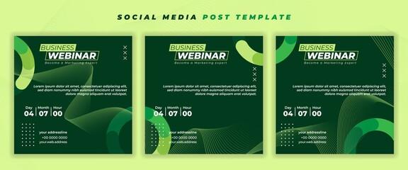 Obraz Set of Social media post template with green design. - fototapety do salonu