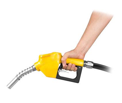 Hand holding petrol pistol isolated on white