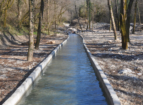 The bed of the Sandripsh river was taken into concrete banks. Abkhazia
