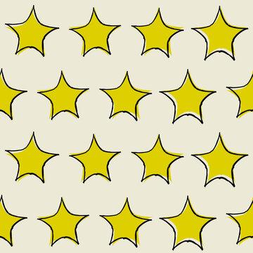 Drawn yellow stars pattern. Vector simple stars wallpaper.
