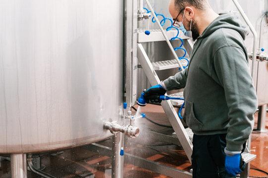 Crop brewer washing mash boiler in beer factory
