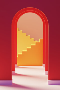 3D Illustration of arches and stairs