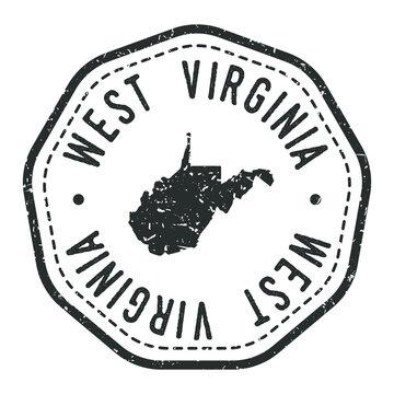 West Virginia, USA Map Stamp Retro Postmark. Silhouette Postal Passport. Seal Round Vector Icon. Badge Vintage Postage Design.