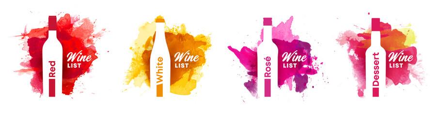 Fototapeta Wine list cover bundle set of watercolor background with shape of wine bottle obraz