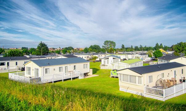 Static caravan homes in a caravan park in England
