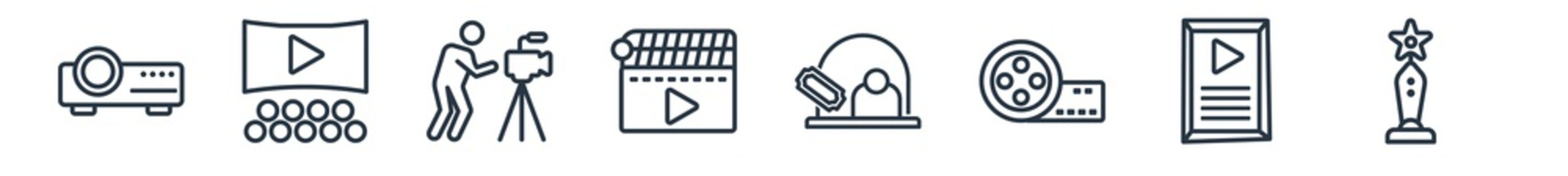 linear set of cinema outline icons. line vector icons such as image projector, film viewer, cameraman, movie clapper, box office, trophy with a star vector illustration.