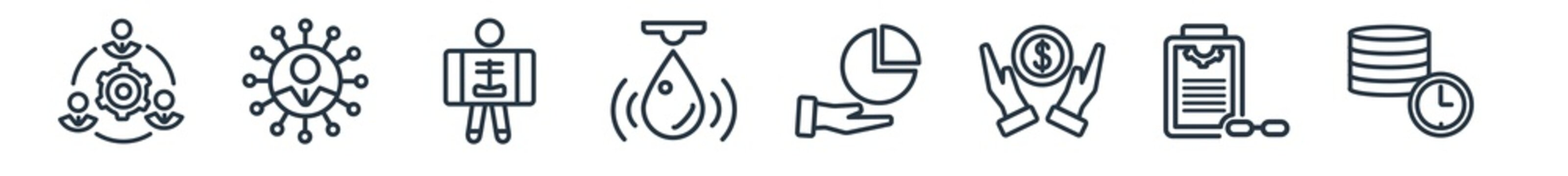 linear set of general outline icons. line vector icons such as project team, team leader, x-ray, water sensor, market share, real time data vector illustration.