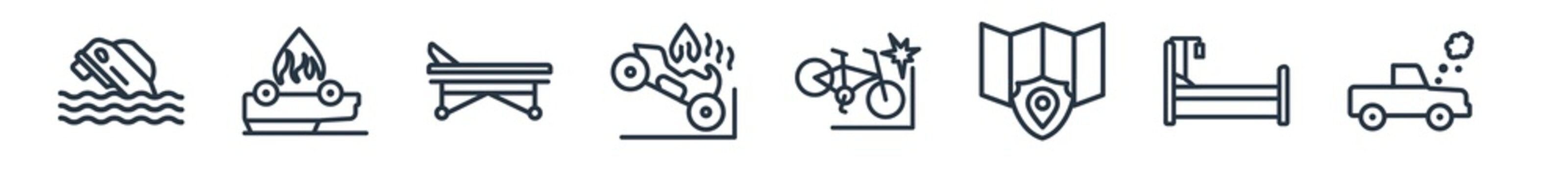 linear set of insurance outline icons. line vector icons such as flood risk, overturned car, hospital bed, motorcycle accident, becycle accident, total loss vector illustration.