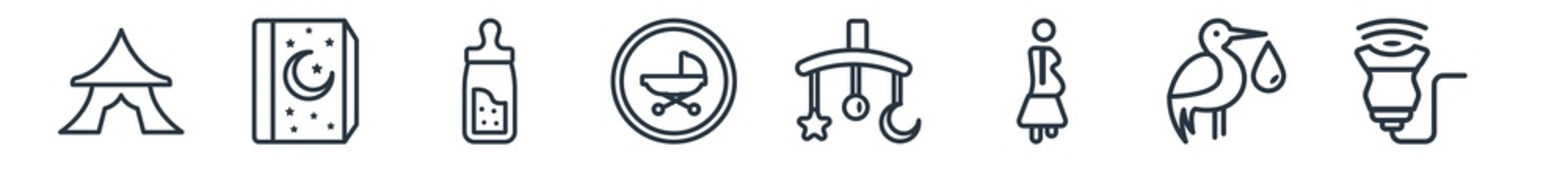 linear set of kid and baby outline icons. line vector icons such as circus, tale, feeder, button, crib toy, ultrasound vector illustration.