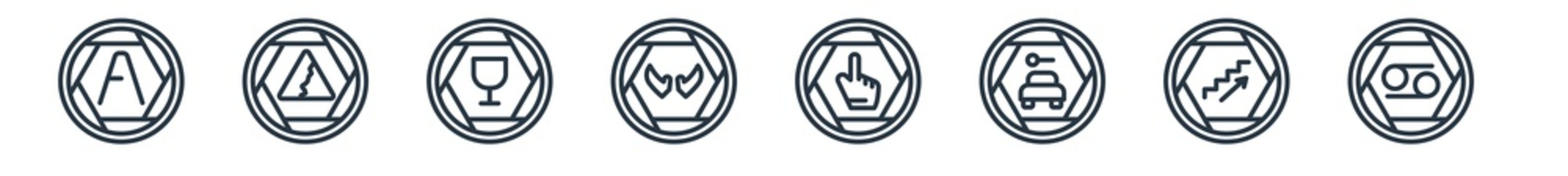 linear set of signs outline icons. line vector icons such as letter a, null, broken glass, null, thumb up filled gesture, horoscope vector illustration.